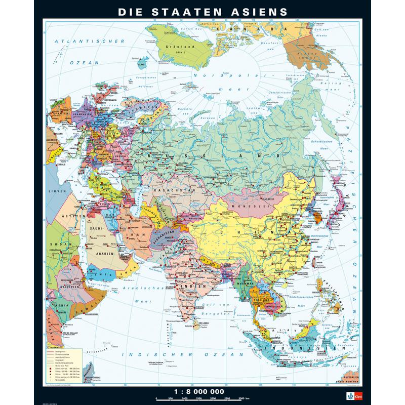 Karte Asien.Klett Perthes Verlag Kontinent Karte Asien Physisch Politisch