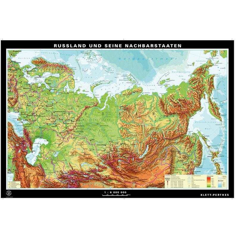 Russia Physical Educational Wall Map From Academia Maps Physical - Russia physical map