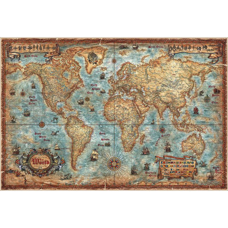 RayWorld Mapamundi Mapa antiguo Modern World laminado
