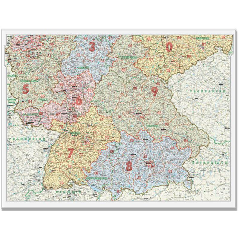 bacher verlag postcode map for southern germany 1500000