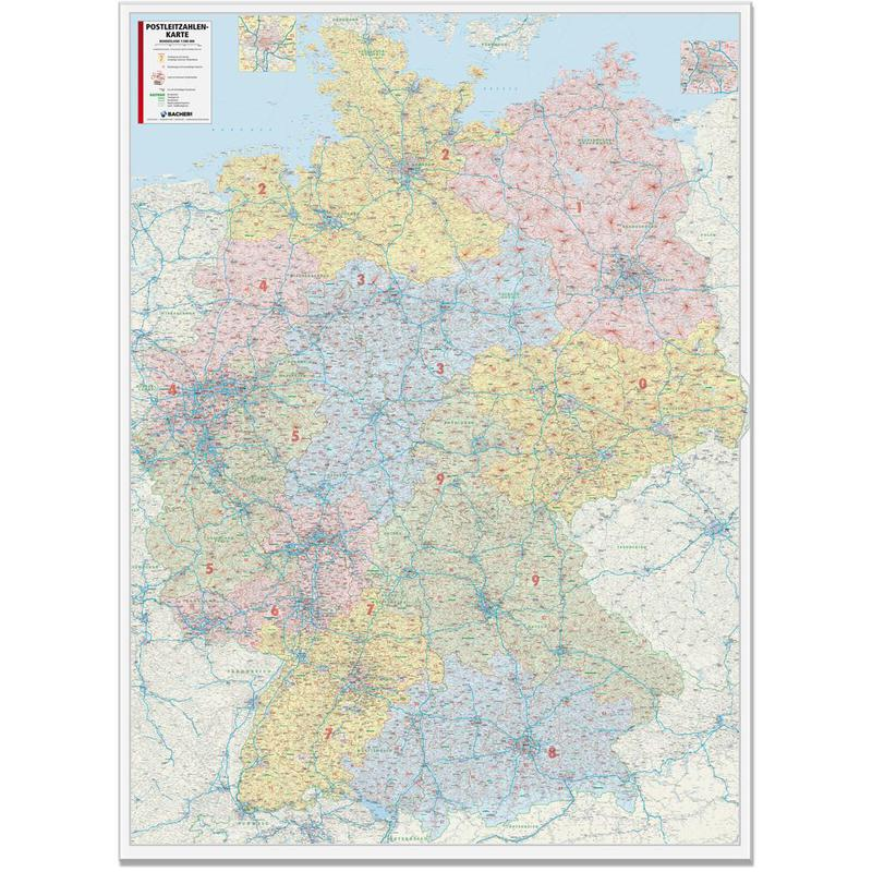 Postleitzahlen Karte Deutschland.Bacher Verlag Postleitzahlenkarte Deutschland 1 450 000