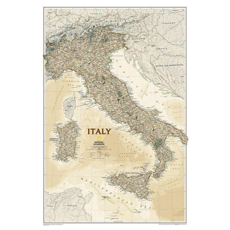 National Geographic Mapa antiguo de : Italia
