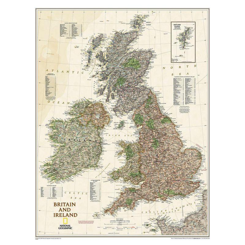 National Geographic antique map of the British Isles and Ireland