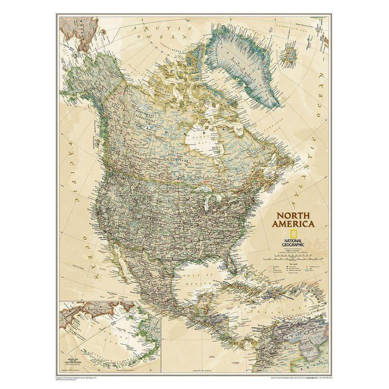 national geographic antique map of north america