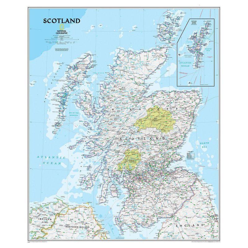 Carte géographique National Geographic Écosse