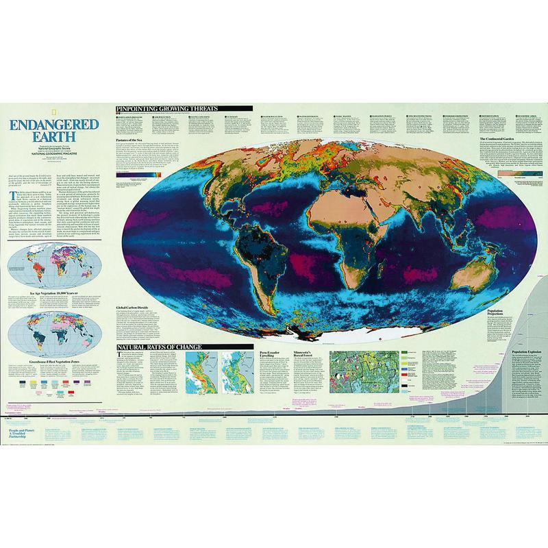 Geographic Map Of Earth.National Geographic Map Endangered Earth