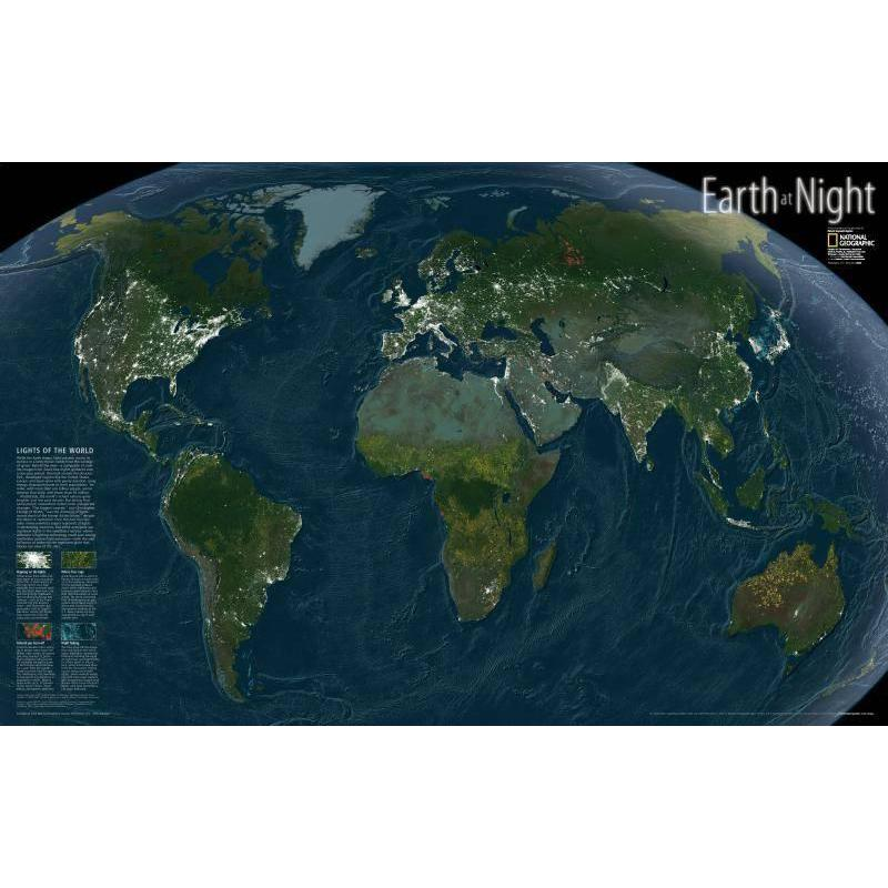 National Geographic Earth At Night World Map
