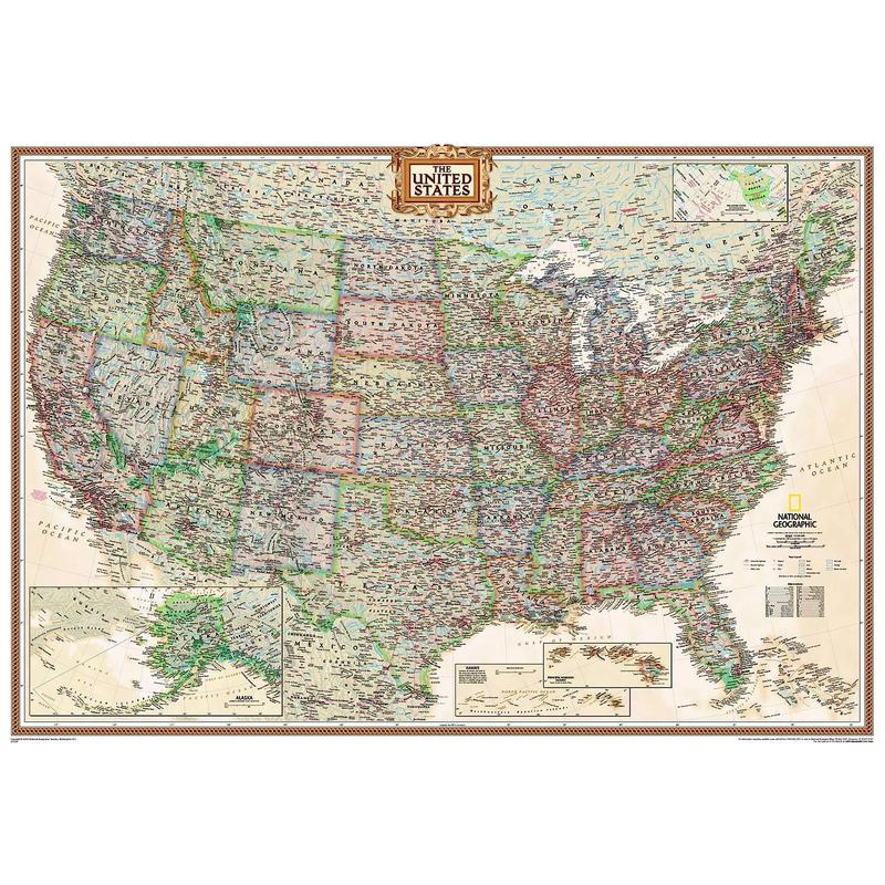 National Geographic The Antique USA Map Politically Largely Laminates - Map of us topography