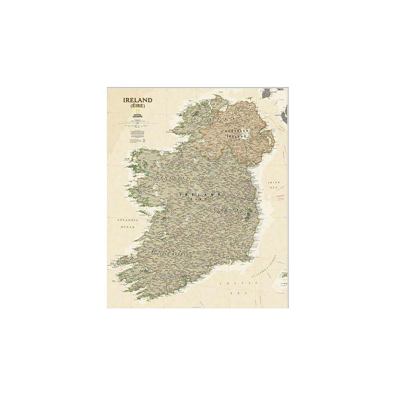 National Geographic Mapa antiguo laminado de  Irlanda