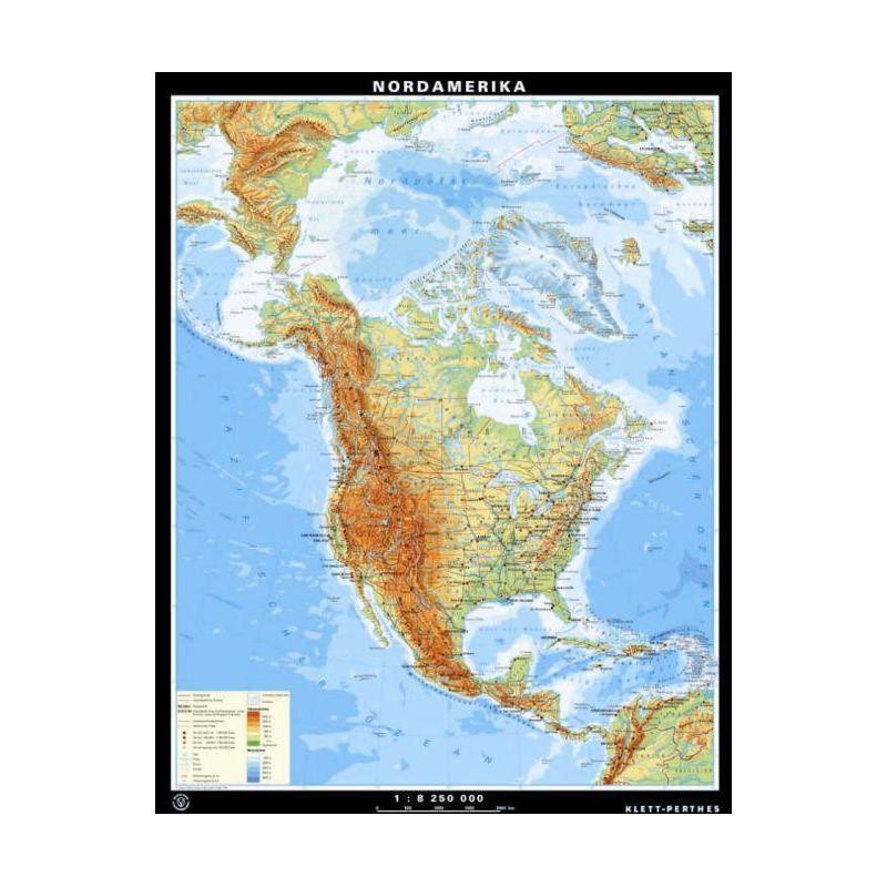 Karte Nordamerikas.Klett Perthes Verlag Kontinent Karte Nordamerika Physisch