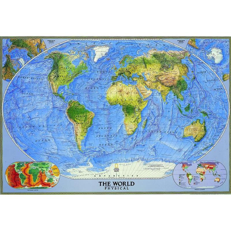 National Geographic Physical Map Of The World Large