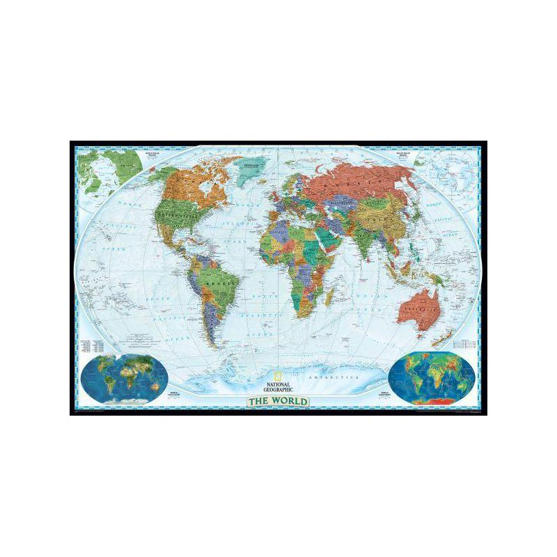 National Geographic Decorative world map, political, laminated on