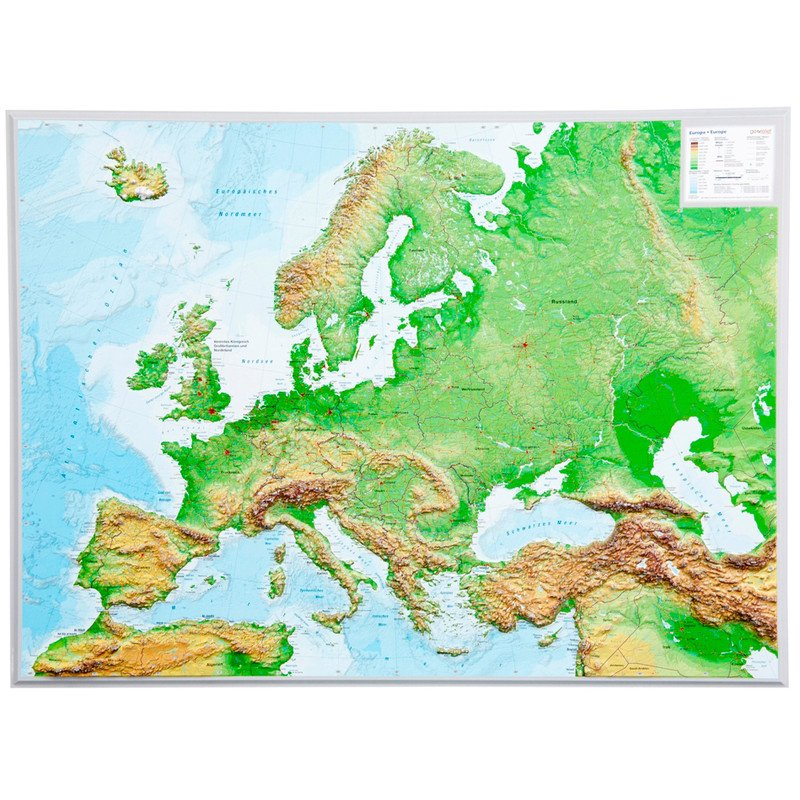 Georelief Large 3d Relief Map Of Europe In German