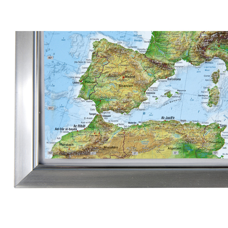 Georelief Europe small 3D relief map in plastic frame (in German)