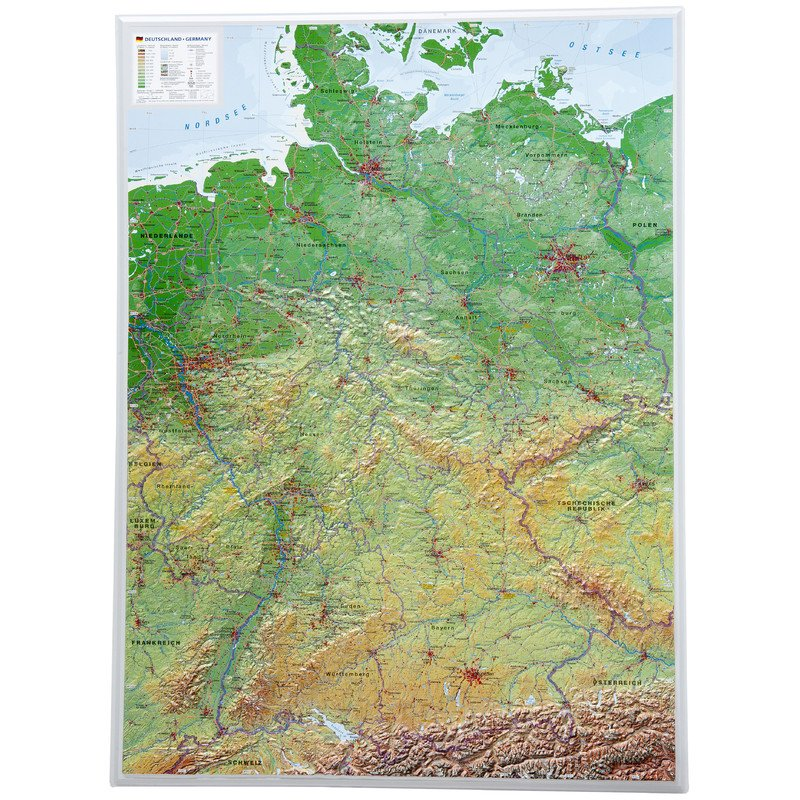 Large Map Of Germany.Georelief Large 3d Relief Map Of Germany In German