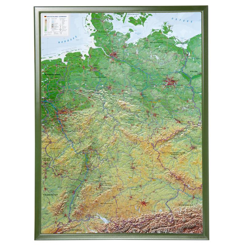 Georelief Deutschland Gross 3d Reliefkarte Mit Holzrahmen