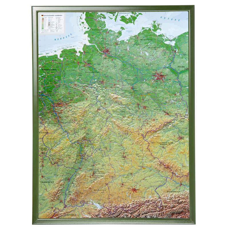 Large Map Of Germany.Georelief Large 3d Relief Map Of Germany With Wooden Frame In