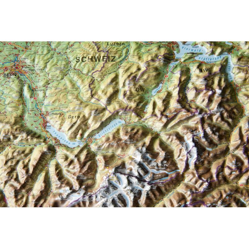 Georelief La Suisse grand format, carte géographique en relief 3D