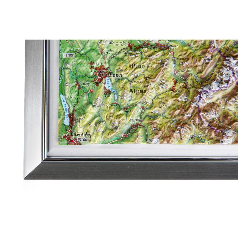 georelief la suisse petit format carte g ographique en relief 3d avec cadre synth tique. Black Bedroom Furniture Sets. Home Design Ideas