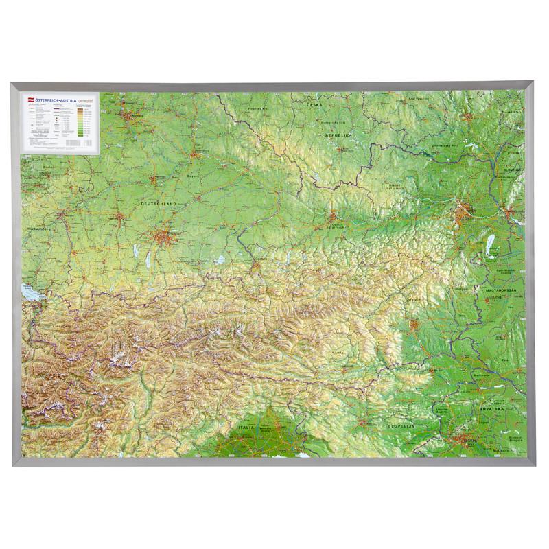 Georelief Österreich klein, 3D Reliefkarte mit Kunststoffrahmen