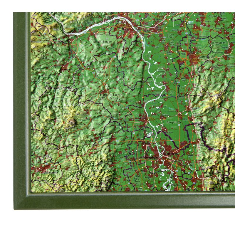 Georelief Large 3D relief map of Hesse in wooden frame in German