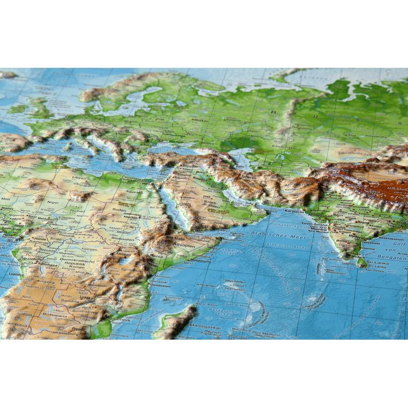 Georelief Le Monde grand format, carte mondiale géographique en