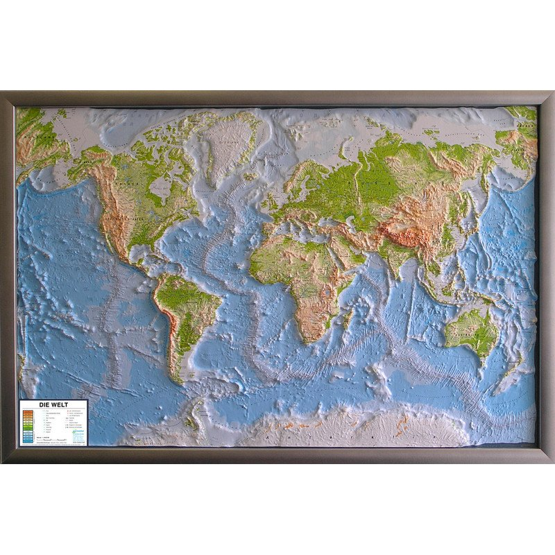 Relief Map Of The World.Geo Institut Silver Line Physical Relief Map Of The World In German