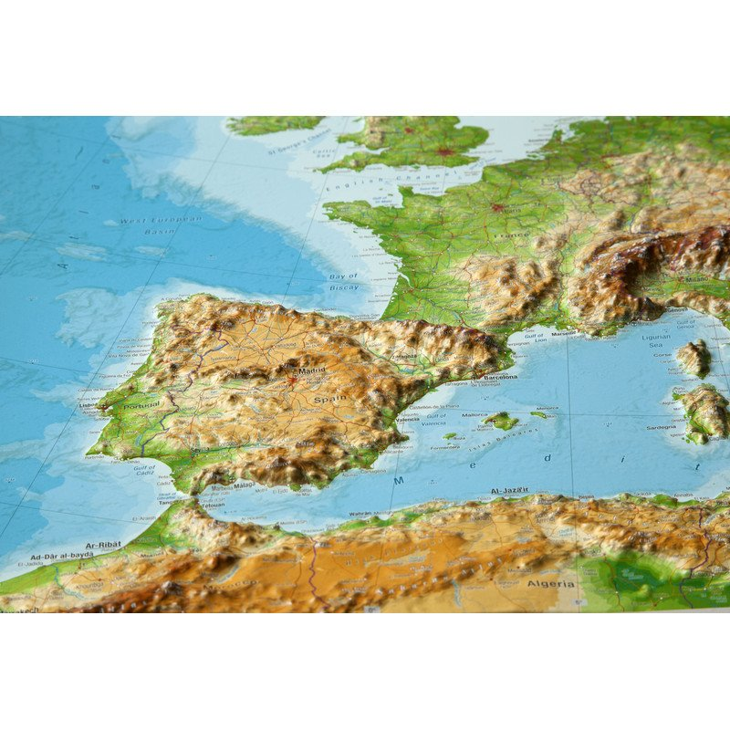 Georelief European Relief Map Large D With Wooden Frame - Europe terrain map