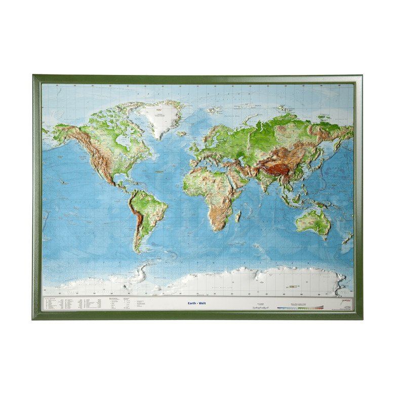 Georelief World Relief Map Large D With Wooden Frame - Large map of earth