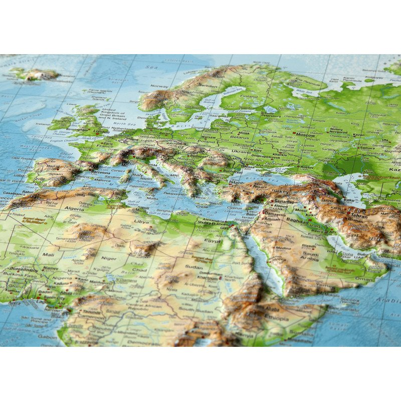 Relief Map Of The World.Georelief World Relief Map Large 3d With Wooden Frame
