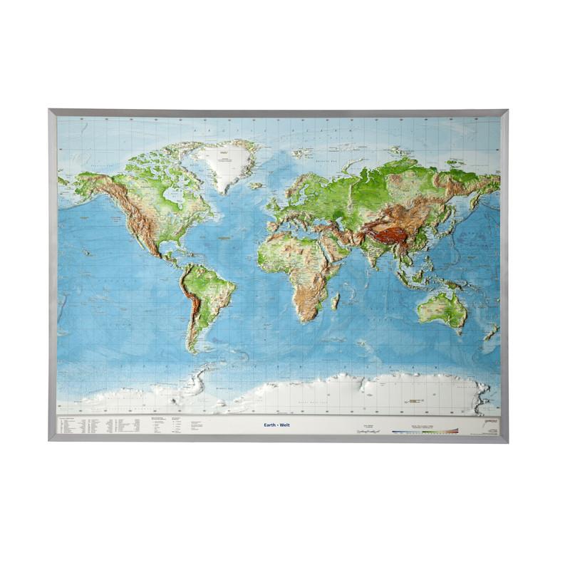 Georelief Welt groß, 3D Reliefkarte mit Alu-Rahmen, ENGLISCH