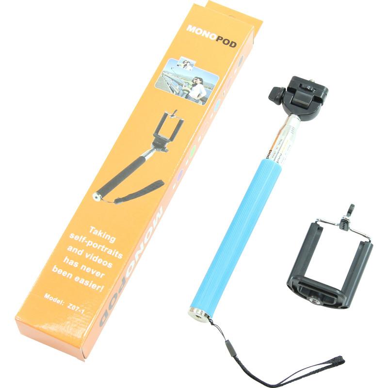 aluminium einbeinstativ selfie stick f r smartphones und kompakte fotokameras blau. Black Bedroom Furniture Sets. Home Design Ideas