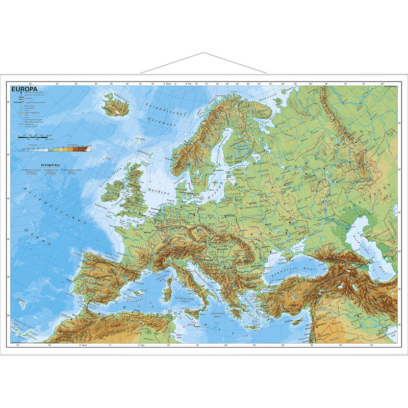 stiefel physical map of europe physically with metal strip in german