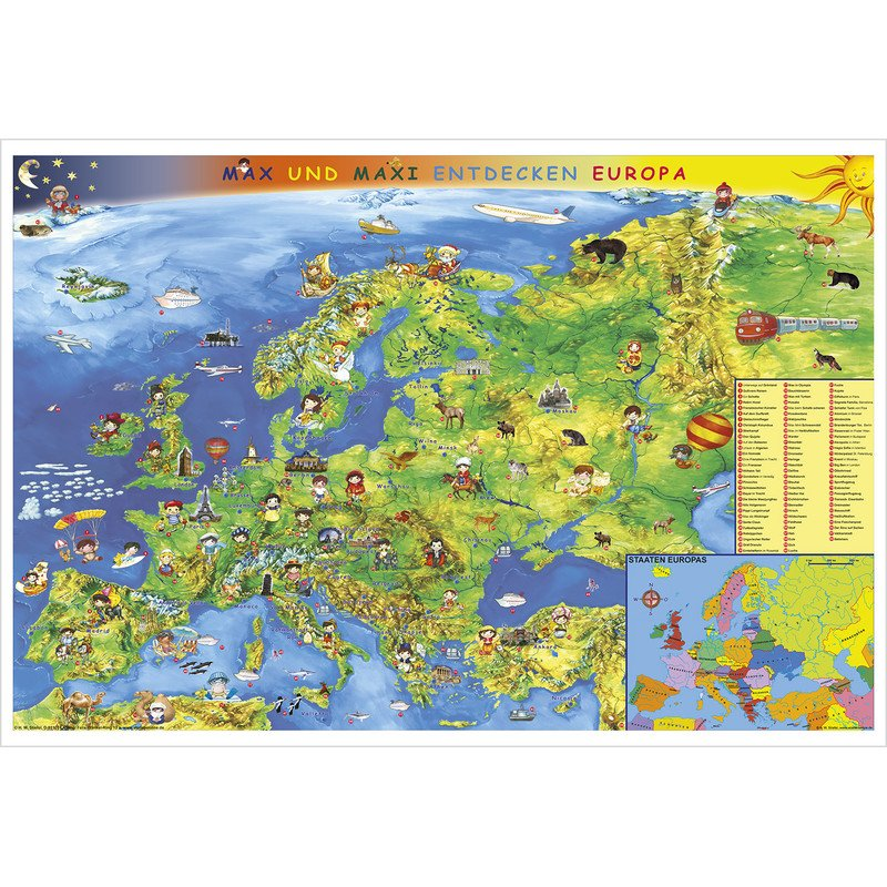 Stiefel Children's map of Europe (in German) on current european map, current physical map of europe, current map of southern europe, current map of western europe,