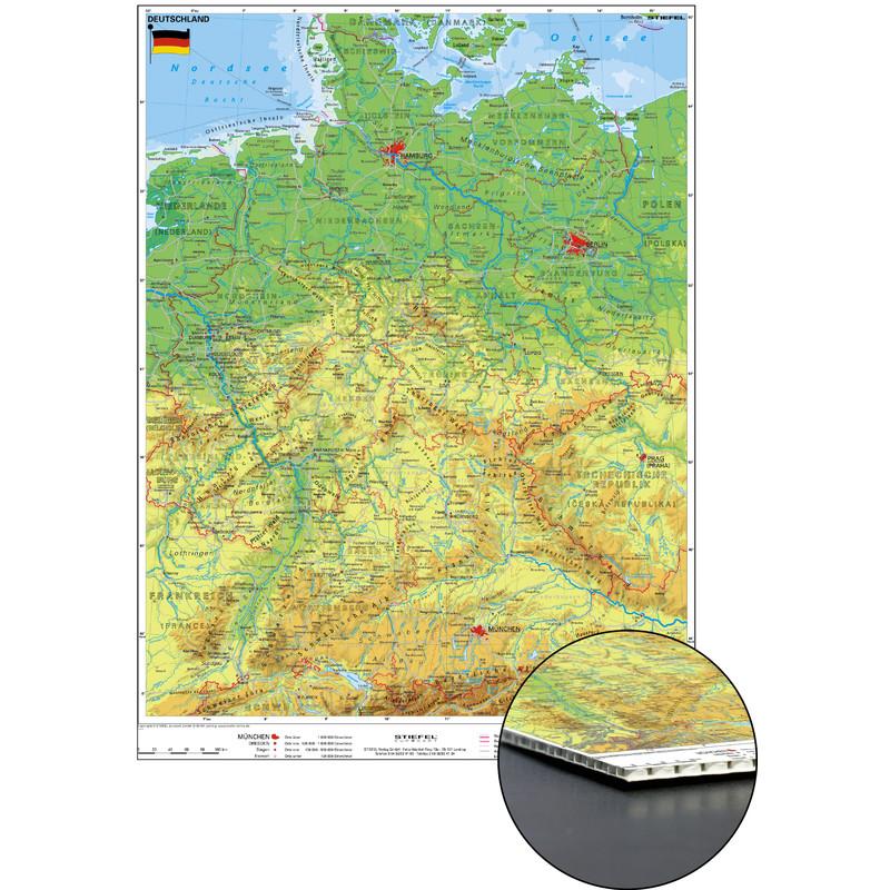 stiefel alemania mapa fsico sobre cartn de nido de abeja para clavar