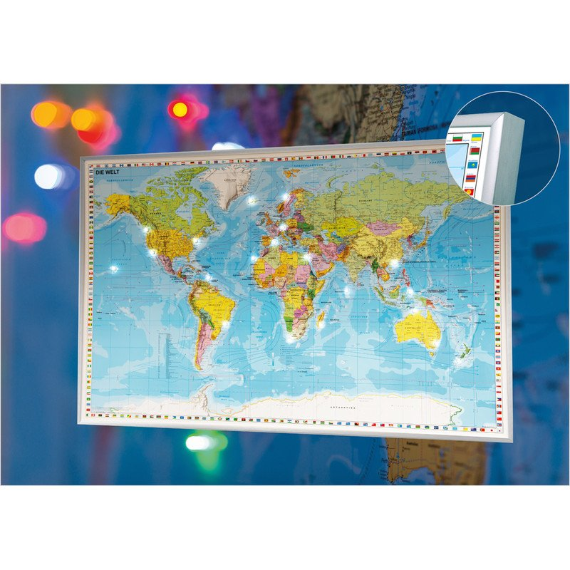 Stiefel Led Pinboard World Map In German