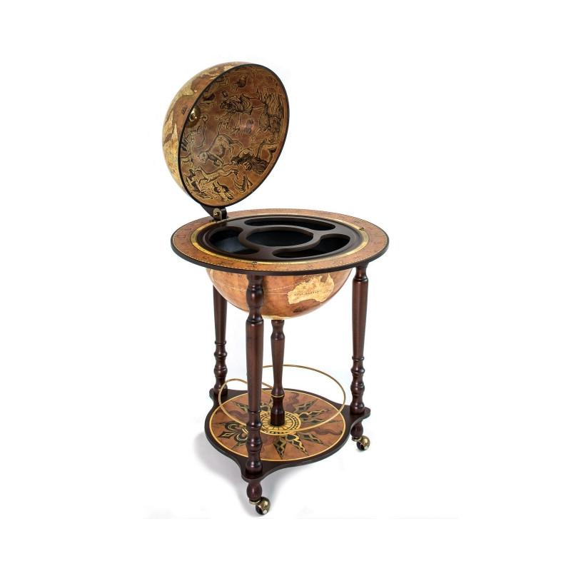Zoffoli globe da vinci rust sur pieds roulette avec range bouteilles - Range bouteille roulette ...