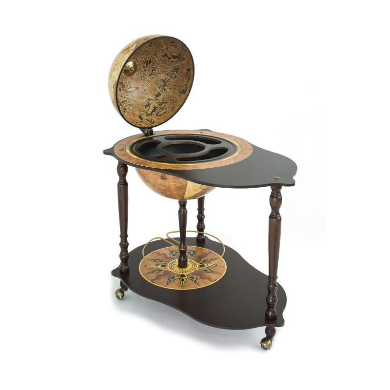 zoffoli barglobus cocktailtisch mit bar globus und innen liegendem getr nkefach michelangelo rust. Black Bedroom Furniture Sets. Home Design Ideas