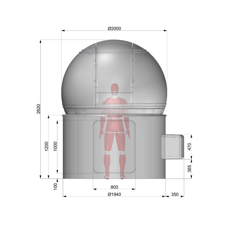 Omegon sternwarten kuppel 2m durchmesser h120 for Stahlwandbecken 2 m durchmesser