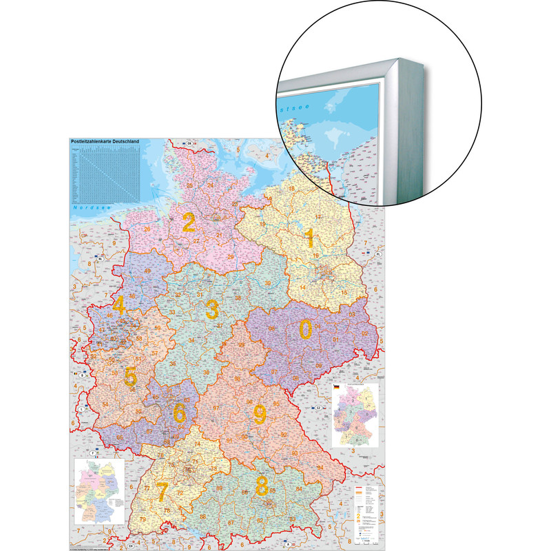 Carte Allemagne Code Postaux.Stiefel Carte D Allemagne Avec Code Postaux Sur Support Pour