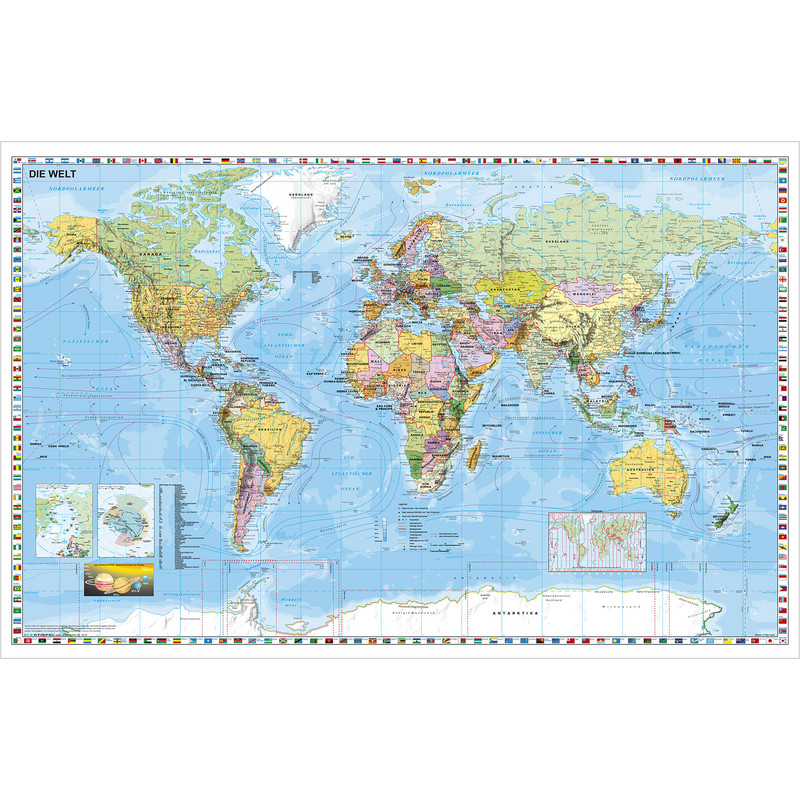 Stiefel mapamundi wall map with white wood frame and hanging cord gumiabroncs Images