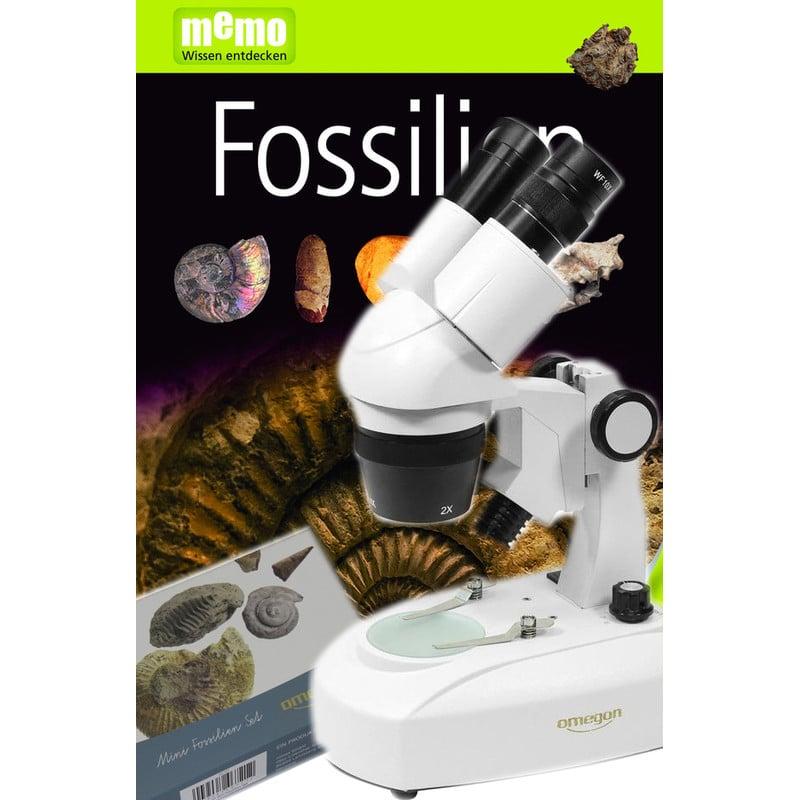 Omegon Microscopio estereo StereoView, 80x, LED, juego de fósiles