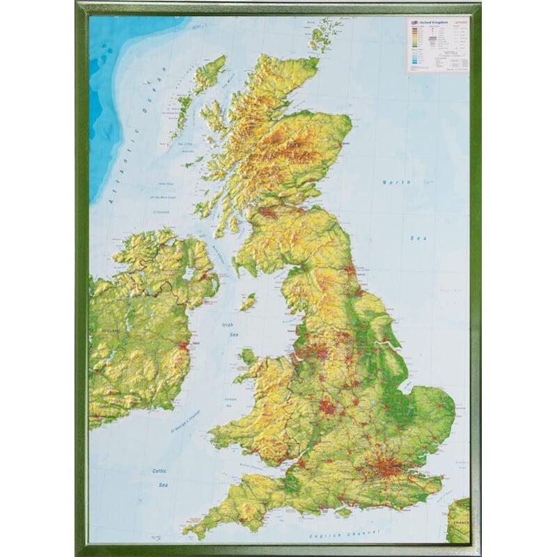 Georelief Gran Bretaña, grande, mapa en relieve 3D con marco de aluminio
