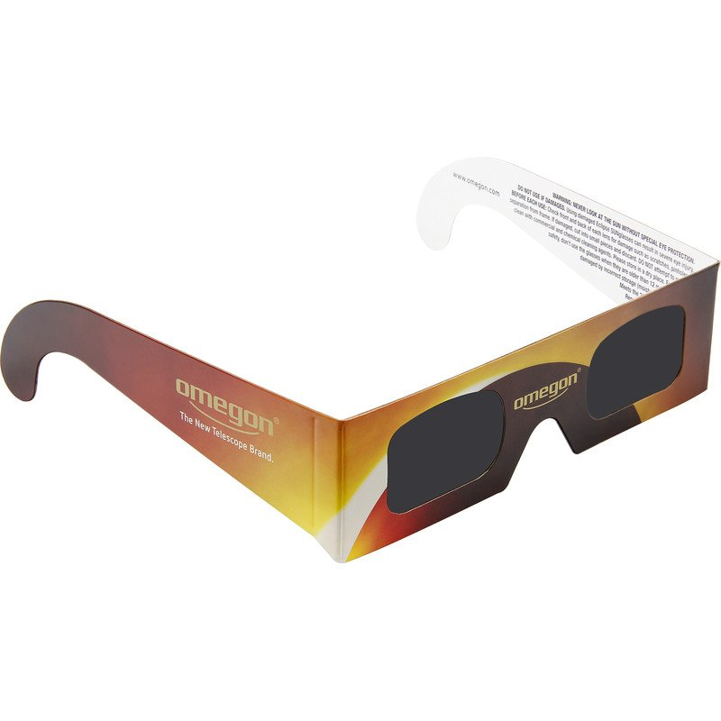 Omegon's Solar Eclipse glasses allow you to safely view the elcipse.