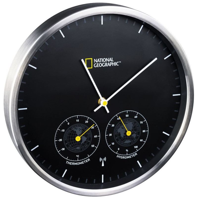 national geographic wanduhr mit thermometer und hygrometer. Black Bedroom Furniture Sets. Home Design Ideas