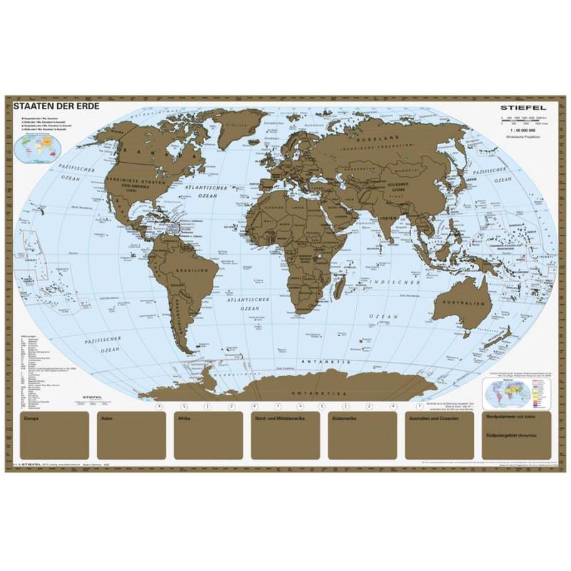 Stiefel Mapamundi Mapa del mundo para rascar con marco metálico