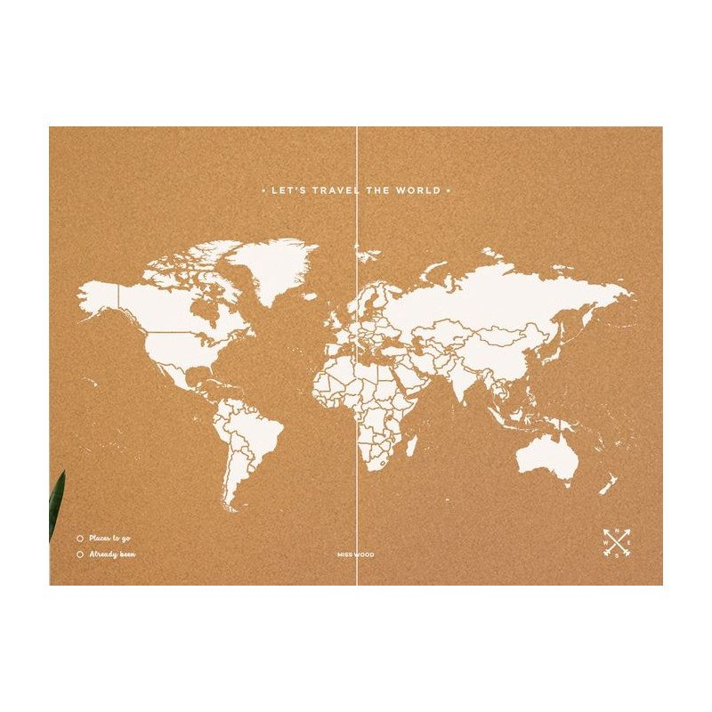 Miss wood woody map natural political cork world map xxl white gumiabroncs Choice Image