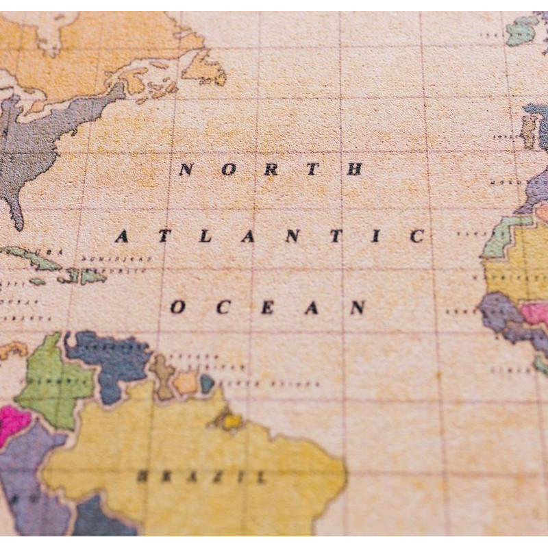 Miss Wood Weltkarte Woody Map Watercolor Old School L