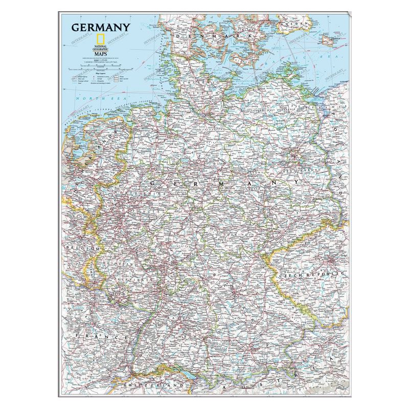 National Geographic Map Deutschlandkarte Pinnwand Gerahmt