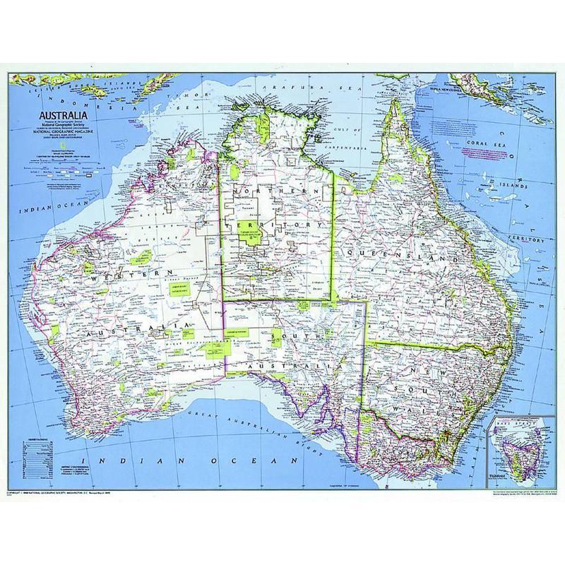 National Geographic Mapa político de Australia